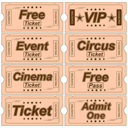 Illustration Of A Set Of Vintage Tickets With Various Objects