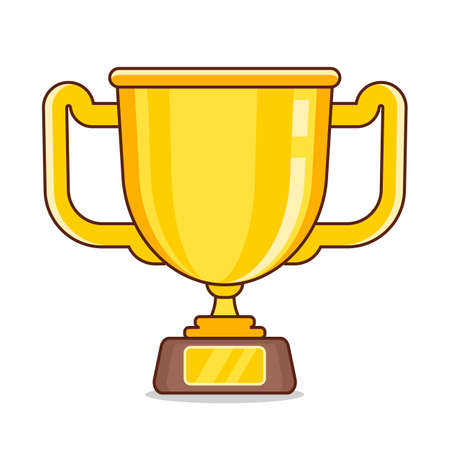 gold cup isolated on white background. Vector Illustration Suitable For Greeting Card, Poster Or T-shirt Printing.