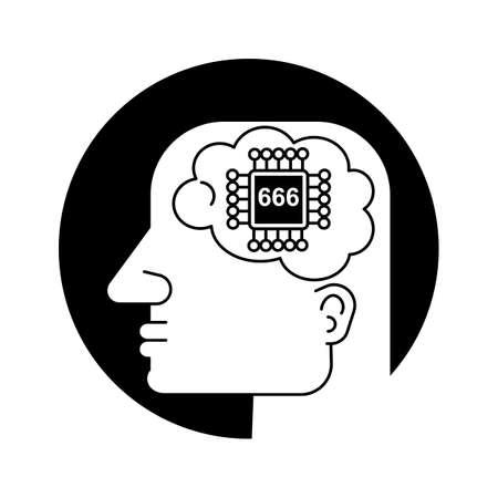 Techno Human Head Vector Concept Illustration. Creative Idea Sign. Learning Icon. People Computer Chip. Innovation Technology Symbol. Digital Modern Communication. 向量圖像
