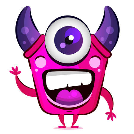 Pink Monster With Horns And One Eye Vector Illustration For Postcards, T-shirts, And Accessories.