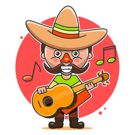 Mexican musicians vector illustration in native clothes and sombreros flat vector illustration