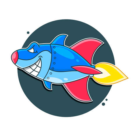 Mean Metal Armed Robot Cyborg Shark Vector Illustration