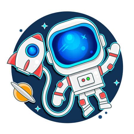 Cute astronaut keeps abstract balloon like a moon.Hand drawn.Cosmic childish vector illustration