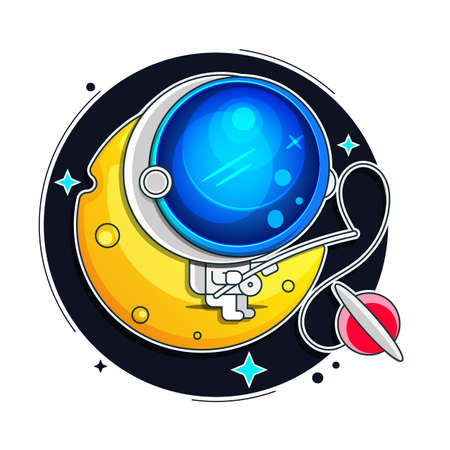 Vector Astronaut, Space suit isolated on Black Background