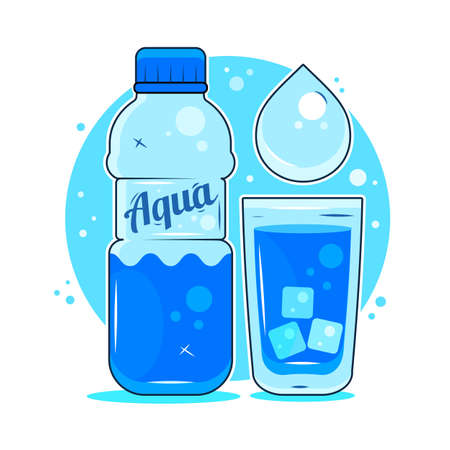 Fresh spring water, sticker,  poster icon symbol of life