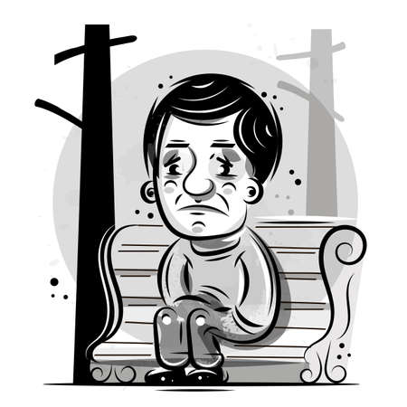 Single Person Sits And Thinks, Ready For Your Design, Greeting Card, Banner. Vector Illustration.