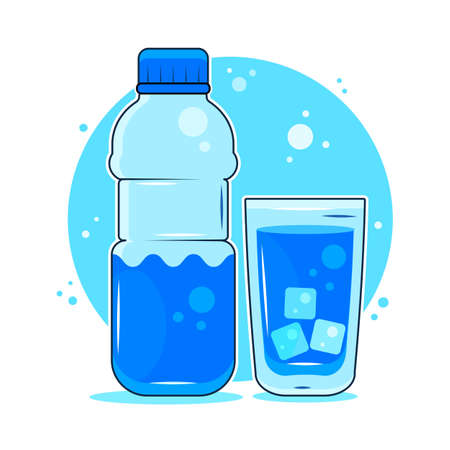 Concept of The Benefits of Drinking Water. Man drinking water. 向量圖像