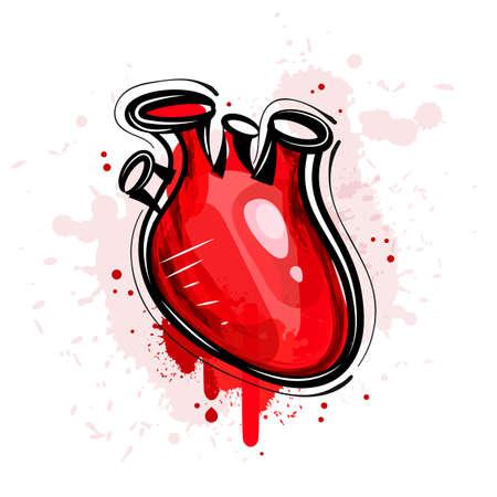 Vector illustration of abstract grunge heart, blood heart 向量圖像