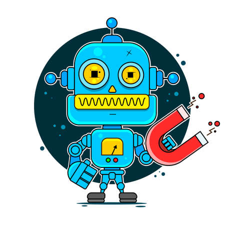 Blue Friendly Android Robot Character With Antennas Vector Cartoon Illustration