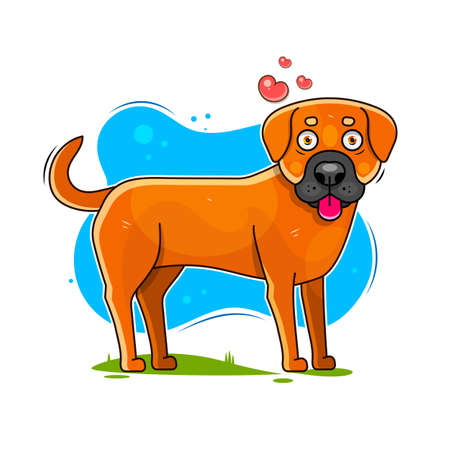 Happy cartoon puppy, Portrait of cute little dog wearing collar. Dog friend. Vector illustration. Isolated on white background.