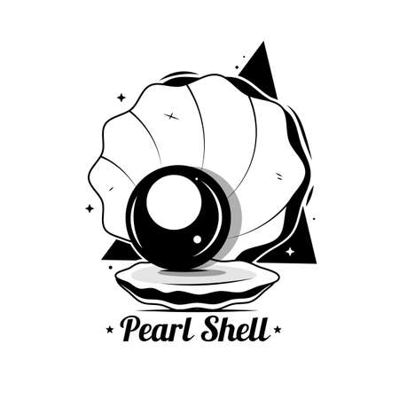 The black silhouette of an open shell with pearls. flat-style logo. illustration 向量圖像