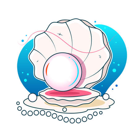 Vector illustration of a beautiful pearl in a shell on a white background 向量圖像