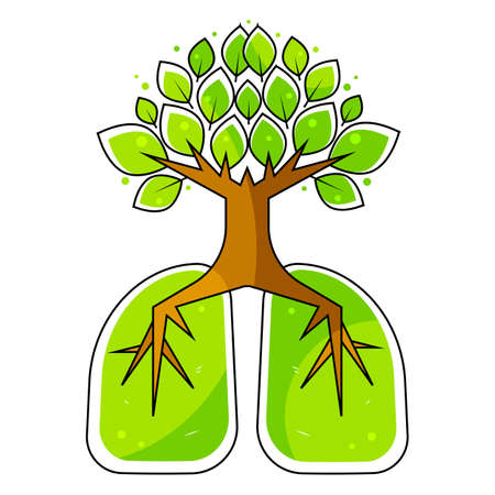 Human lungs. Respiratory system. Healthy lungs. Light in the form of a tree. Line art. Drawing by hand. Medicine. Vector Illustration Suitable For Greeting Card, Poster Or T-shirt Printing. 向量圖像