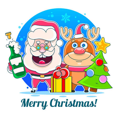 Merry Christmas Happy Christmas companions. Vector Illustration Suitable For Greeting Card, Poster Or T-shirt Printing.