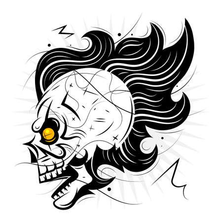 Pirate retro skull isolated on white background.Vector illustration.