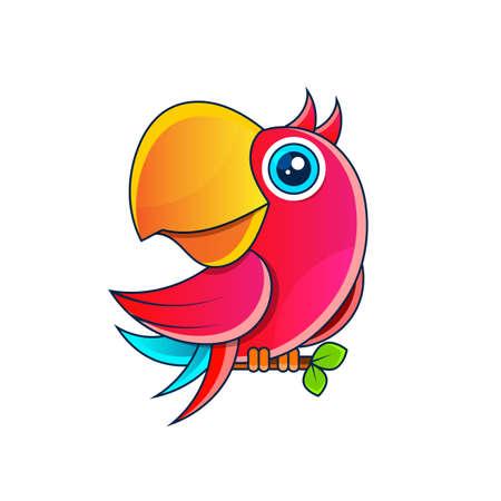 parrot Vector stock illustration on a white background. For design, decoration, logo.