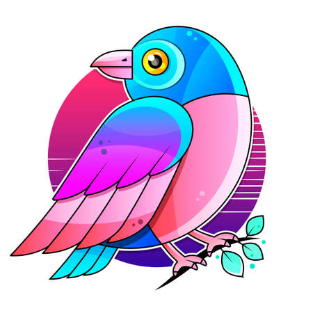 Bird Vector Stock Illustration On A White Background. For Design, Decoration