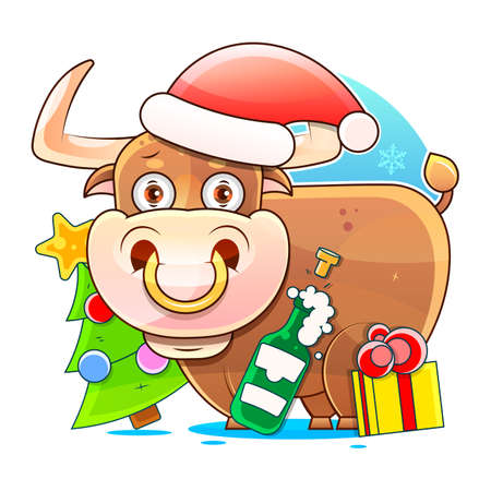 Symbol of the year, bull, decorates the Christmas tree. postcard. with the inscription in happy new year