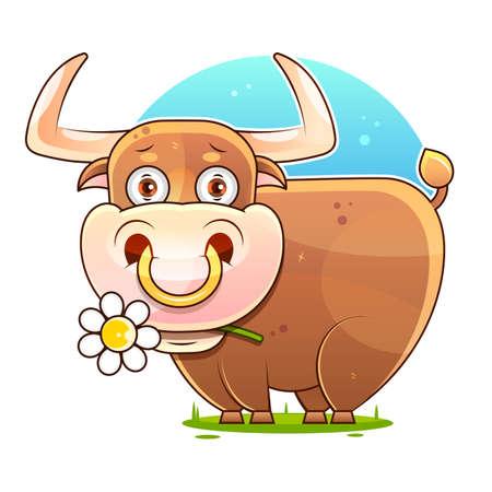 Cute Cartoon Bull Vector Stock Illustration On A White Background. For Design,