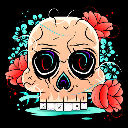 Frame with mexican skull girl Stock Illustration On A Background. For Design, Decoration