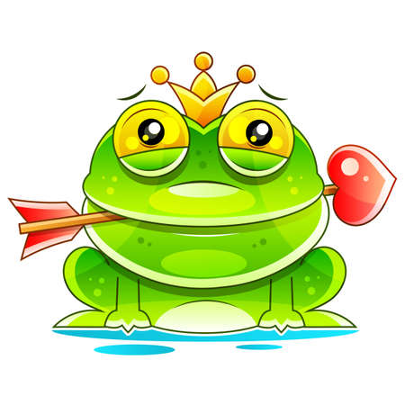 Cute Princess Frog Cartoon Mascot Character With Crown And Arrow. Vector Illustration