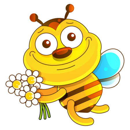Illustration of a friendly cute bee on white 向量圖像