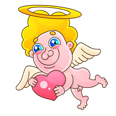 Valentine s day with cut paper cupid. Vector