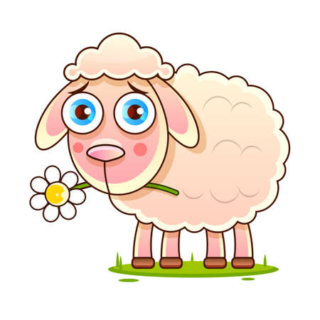 Nice cartoon vector sheep vector Sketch Stock Illustration On A Background. For Design, Decoration,