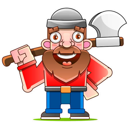 Lumberjack with ax and downed log, forest background. Vector illustration Vetores