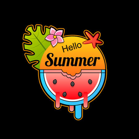 Watercolor watermelons and lettering hello summer For design, decoration.