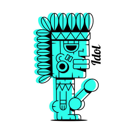Happy wood idol icon. Cartoon of happy wood idol vector icon for web design isolated