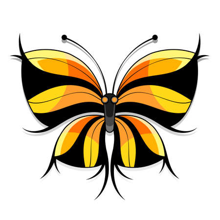 Beautiful watercolor abstract translucent butterfly on the white background. Wings look like wet watercolor