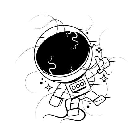 Graphic astronaut with black hole and starry vortex inside his helmet. Vector art isolated on white background. Vector