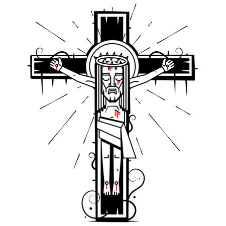 Jesus Christ, the Son of God in a crown of thorns on his head, a symbol of Christianity hand drawn vector illustration
