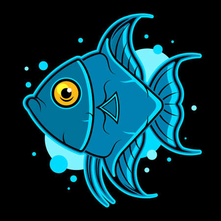 Vector multicolor fish. Isolated scalar. Beauty unusual element for gifts, cards