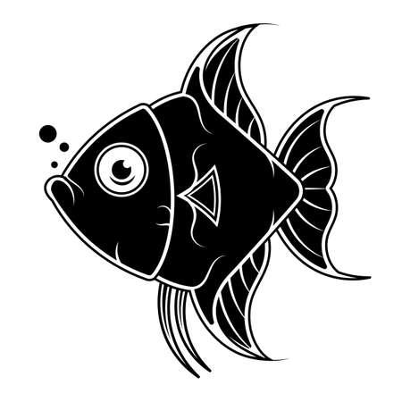 Fish silhouette, vector black and white. Fish Scalar. Vector