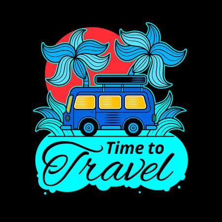 Travel typographic banner with inspirational quote It s time to travel , sun, sea waves, ocean on white background in blue colors. Vector hand drawn template Illustration
