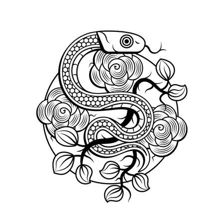 Snakes and flowers. Tattoo art, coloring books. Hand drawn vintage vector illustration