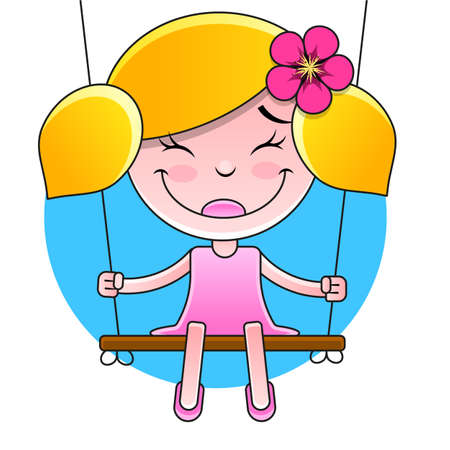 young girl sitting on the swing in summer garden, silhouette Illustration