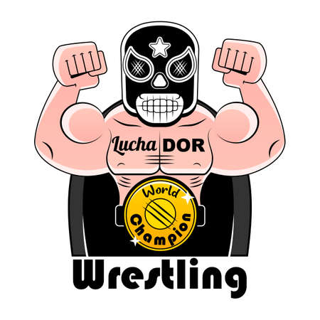 Mexican Wrestler Battle Acrobat Fighter Lucha Libre, vector illustration Illustration