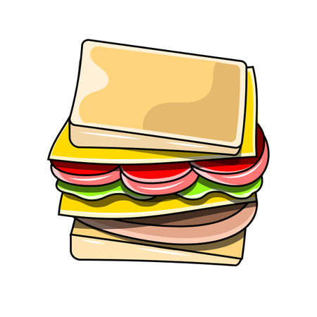 appetizing sandwich with cheese sausage and vegetables vector illustration