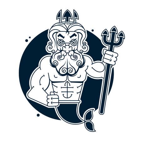 Poseidon Clip Art Illustration