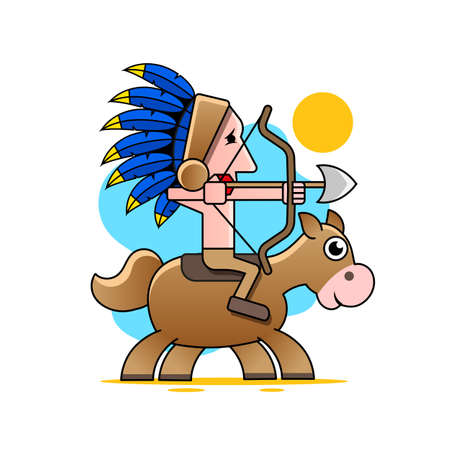 Native American with bow and arrow. Vector isolated