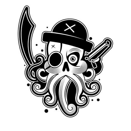 Hand drawn Octopus like Pirate, animal totem for adult Coloring Page  , for tattoo, illustration with high details isolated on white background.