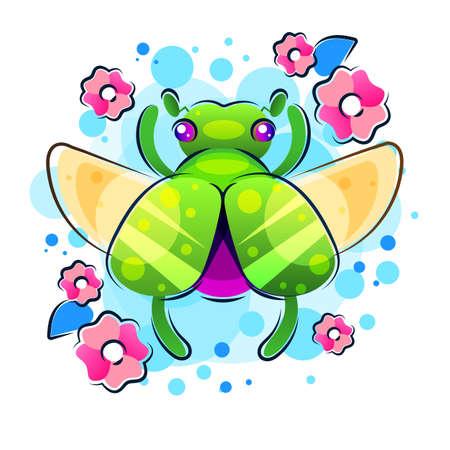 Boho tattoo. Blackwork Scarab beetle, May bug in hipster triangle frame, flowers. Vector illustration