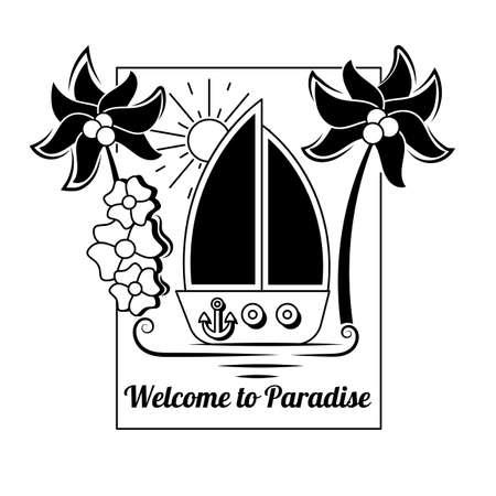 Ship, Wheel, Anchor and Yacht Illustration