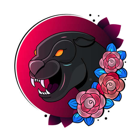 The stylized image of a black panther a tattoo Illustration