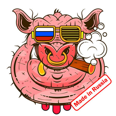 Made in Russia. Vector illustration of the flag label design with the brand