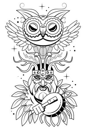 Hand drawn portrait man with feathers and ethnic symbols. Vector hand drawn hipster illustration isolated on white background.Boho design, t-shirt print, tattoo art