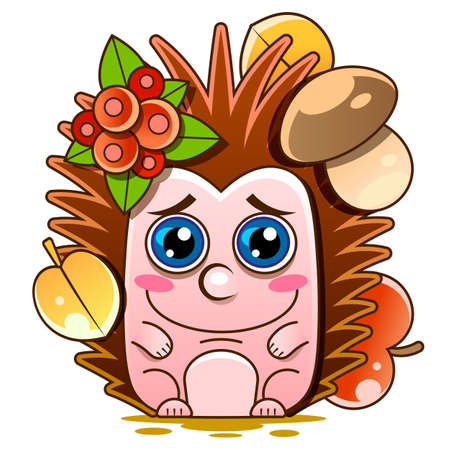 Vector illustration of smiling hedgehog. Isolated on white. Cute cartoon Illustration